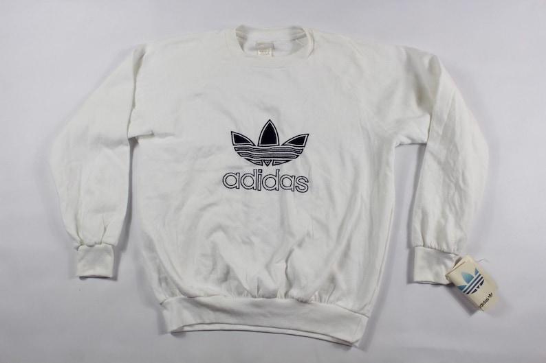 046e21903e5f9 80s Adidas Trefoil Logo Spell Out Run DMC Crewneck Sweater White Mens,  Vintage Adidas Sweatshirt, 1980s Adidas Sweater, Mens Crewneck