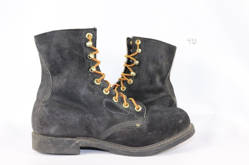 Vintage Georgia Boots 90s New Georgia Boot Tall Hipster Suede Leather Lace Up Logger Boots Tan Mens Size 8 D Black Suede Logger Boots USA