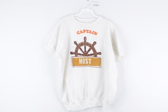 70s Streetwear Captain Ship Wheel Short Sleeve Swe