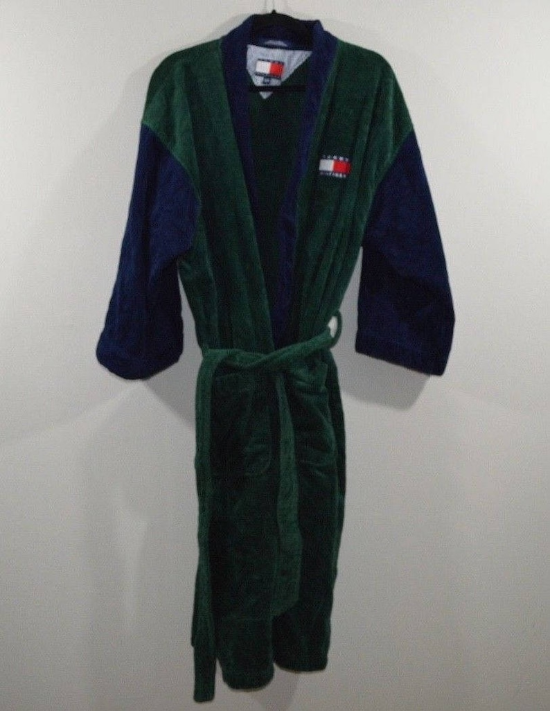 online los angeles wide selection of designs 90s Tommy Hilfiger Spell Out Color Block Belted Cotton Bath Robe Mens One  Size, Vintage Tommy Hilfiger Robe, 90s Tommy Robe, Vintage Tommy