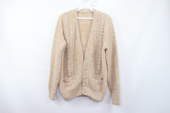 50s Hand Knit Cable Cowichan Cardigan Sweater Beig