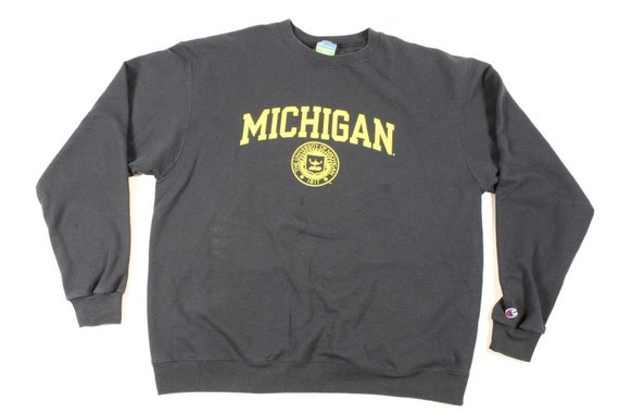 a9cb30d743fa6 90s Champion Michigan Wolverines Football Spell Out Crewneck   Etsy