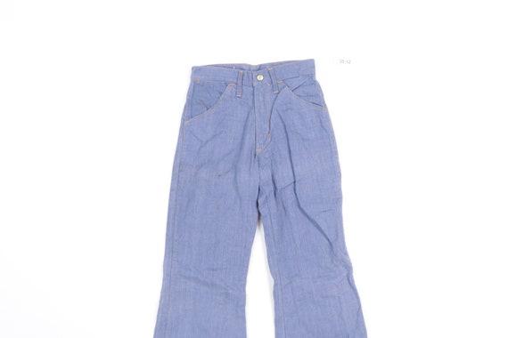 70s High Rise Flared Bell Bottom Denim Jeans Blue… - image 2