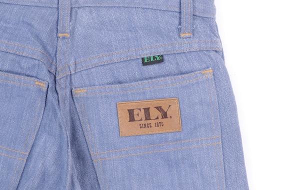 70s High Rise Flared Bell Bottom Denim Jeans Blue… - image 6