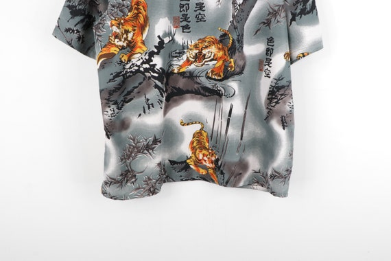 90s Streetwear Anime Tiger All Over Print Button … - image 7