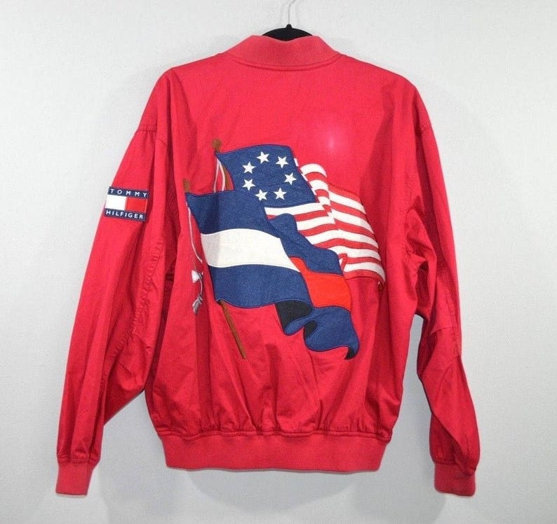 9709cc07692 90s Tommy Hilfiger Full Zip Spell Out USA Flag Bomber Flight