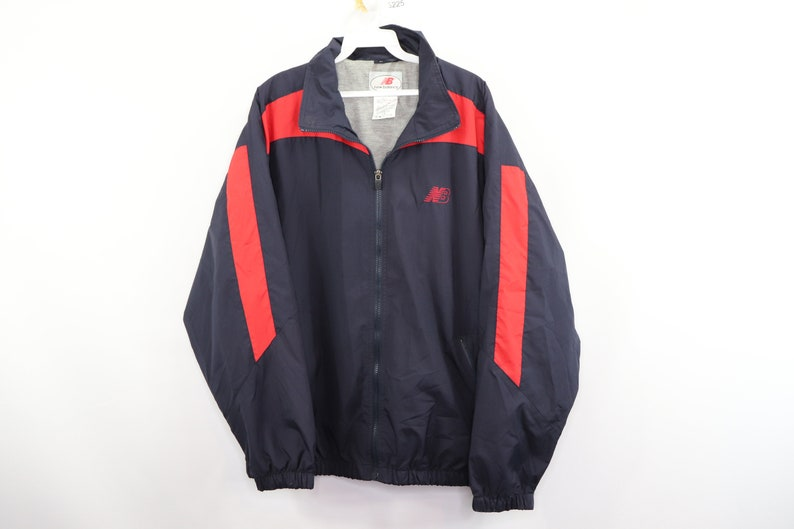 e2287b643e171 90s New Balance Spell Out Color Block Full Zip Windbreaker Jacket Mens  Large Navy Blue, Vintage New Balance Jacket, 1990s Windbreaker Jacket