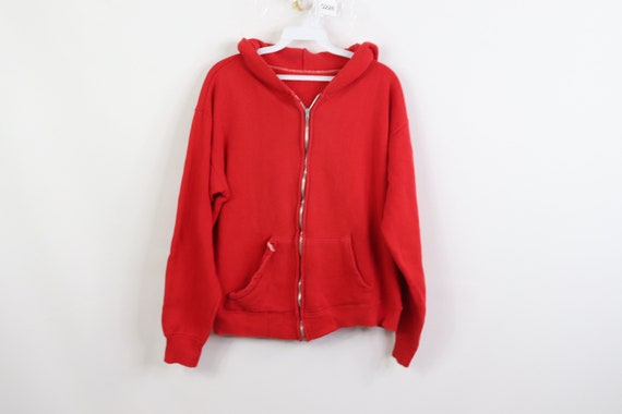 50s Distressed Full Zip Hoodie Hooded Sweatshirt R