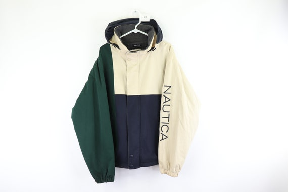 90s Nautica Spell Out Color Block Reversible Puffe
