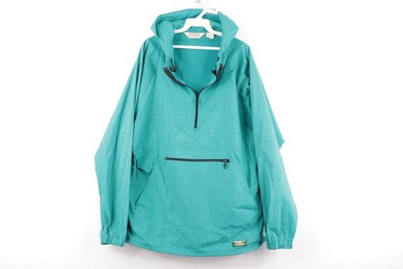 80s LL Bean Streetwear Spell Out Half Zip Hooded A