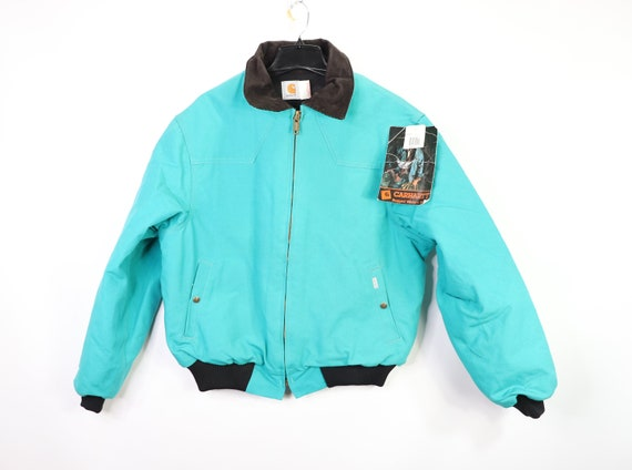 Vintage 90s New Carhartt Mens Large Tall Lined Corduroy Collar Work Jacket Green