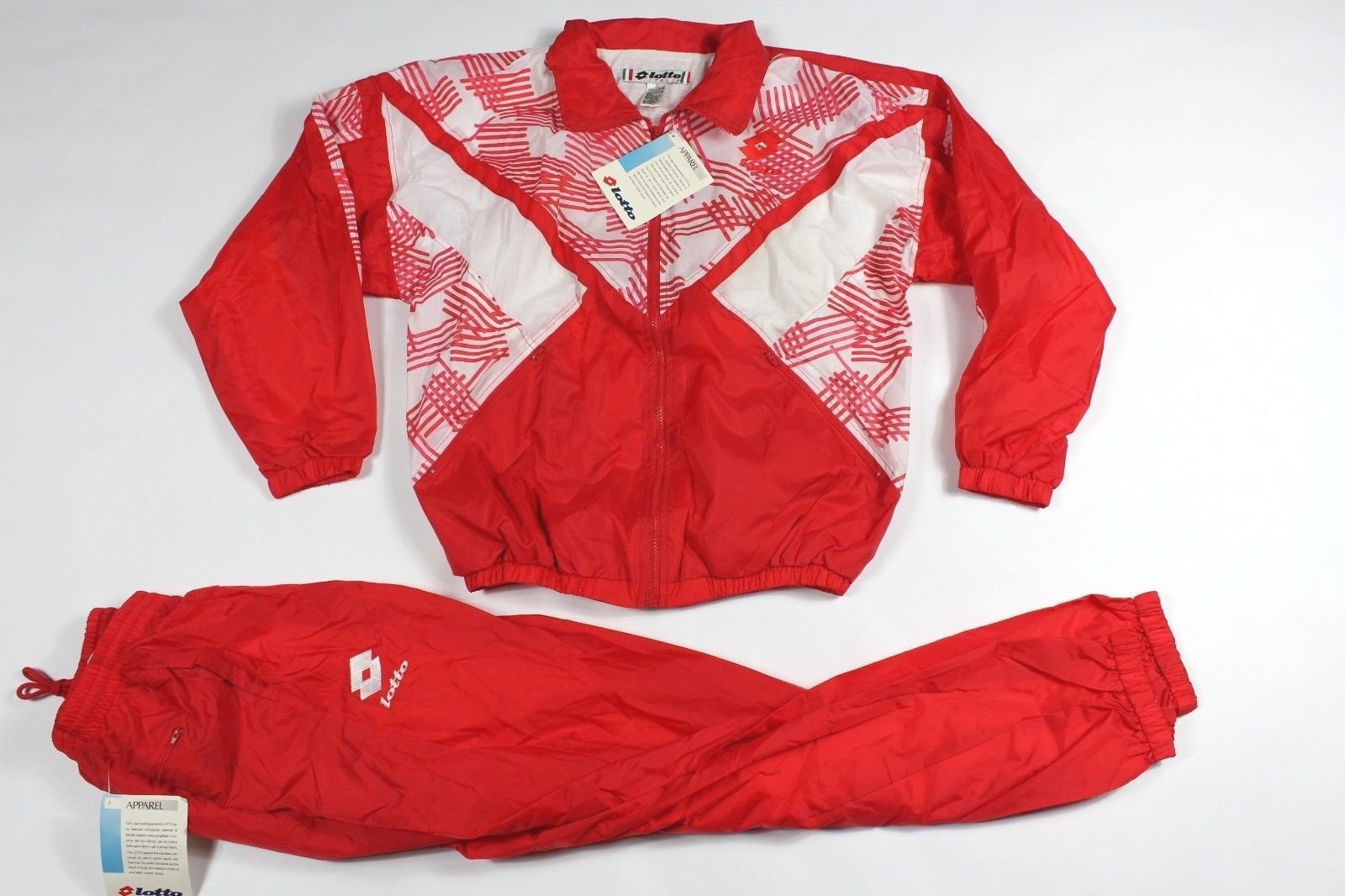 e4276fad4ba2c 80s Deadstock Lotto Italia Spell Out Lined Soccer Davanti Warm Up 2 Piece  Jacket Pants Mens Large Red White, Vintage 80s Lotto Soccer