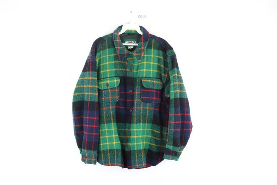 80s American Eagle Double Pocket Plaid Wool Shirt