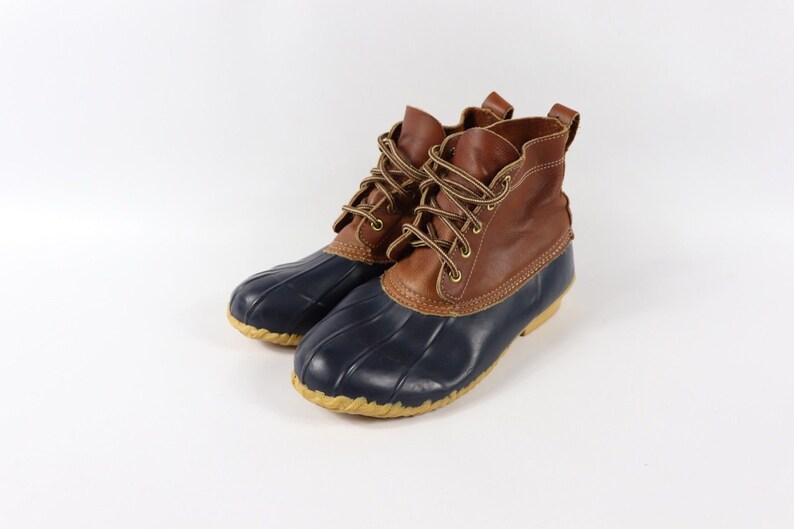 db6af98434892 90s Eddie Bauer Leather Rubber Duck Boots Mens Size 7 Brown Blue USA,  Vintage Eddie Bauer Boots, 1990s Rubber Duck Boots, Mens Vintage Boot