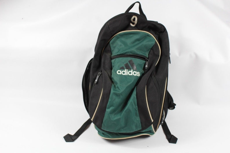 90s Adidas Big Logo Spell Out Soccer Ball Holder Backpack Book  0da556b68e505