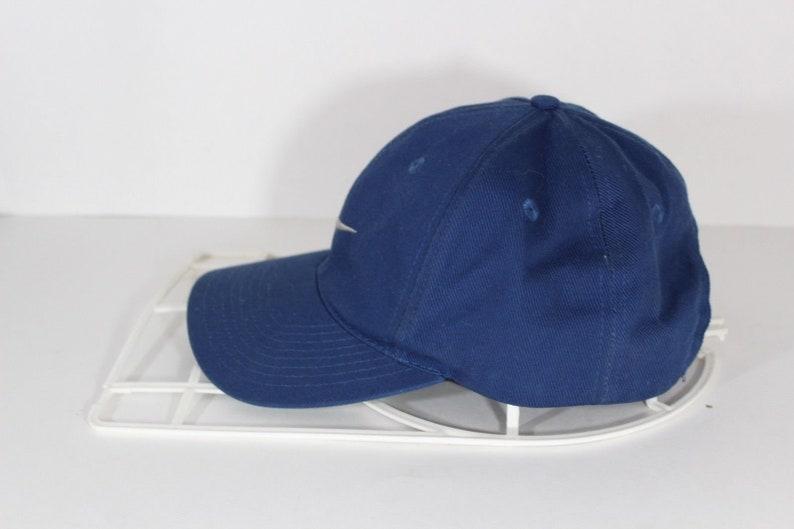 b3e7bd3bc06 90s NIKE Swoosh Logo Cotton Dad Snapback Hat Cap Navy Blue
