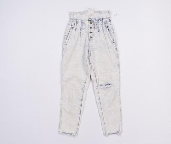 80s Streetwear Distressed Tapered Acid Wash Waist