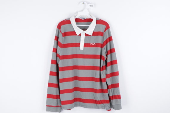 90s Fila Spell Out Long Sleeve Striped Rugby Polo
