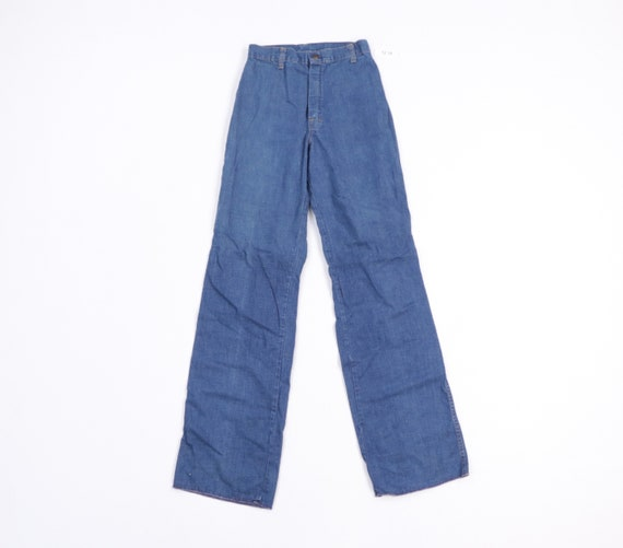 70s Streetwear Distressed Wide Leg Flared Denim J… - image 1