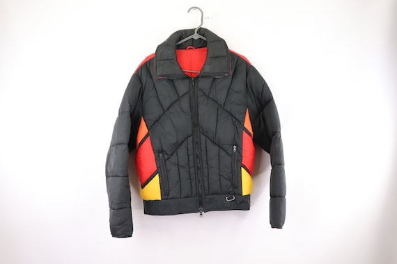 80s Color Block Snowmobile Skiing Puffer Jacket Bl