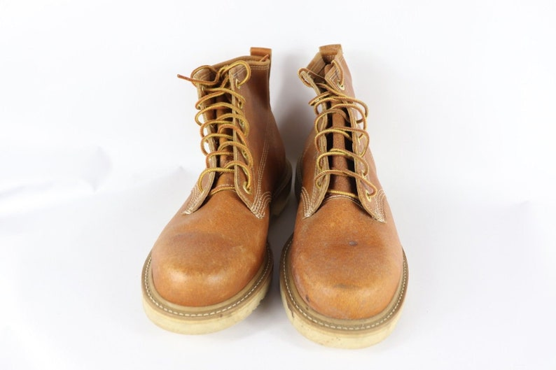 Vintage Carolina Boots Hipster Boots 90s Carolina Mens 12 D Leather Lace Up Outdoor Work Boots Tan Brown Leather Work Boots Mens Boots