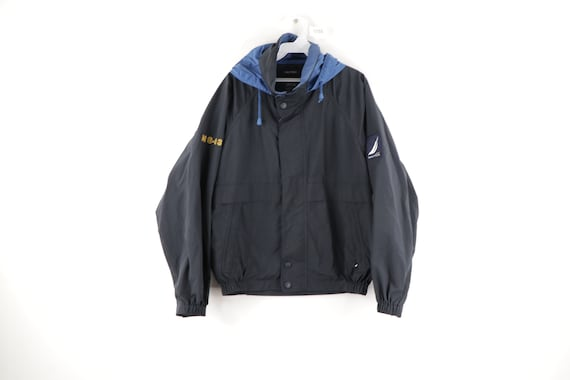 90s Nautica Spell Out Sailing Patch Hooded Windbre