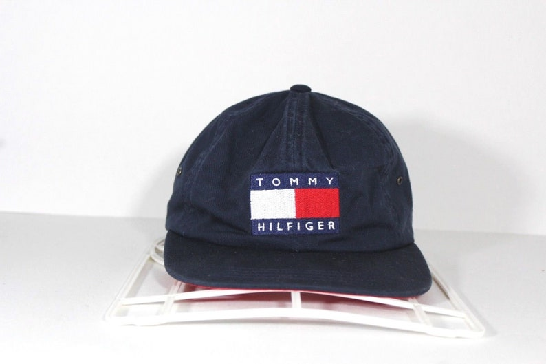 85bc844822018 90s Tommy Hilfiger Spell Out Big Flag Logo Nylon Clip Strapback Hat Cap  Blue