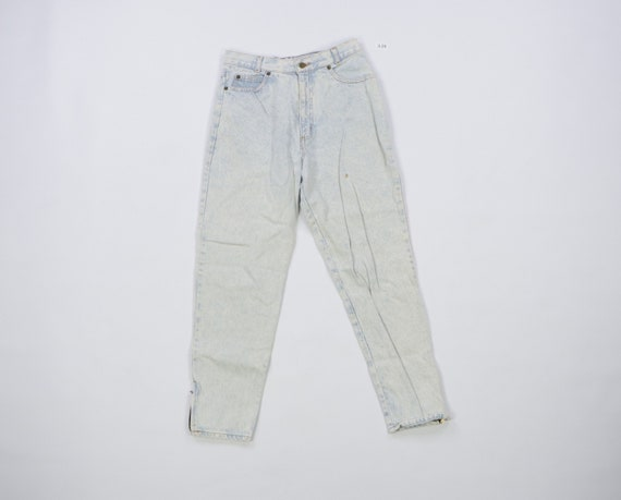 80s Distressed Tapered Leg Zippered Acid Wash Jean