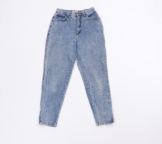 90s Stefano High Rise Distressed Tapered Leg Acid