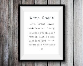 West Coast Print, Wall Art, Wales, A4 Print, Tenby, Beach