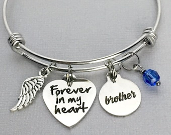 BROTHER Memorial Bracelet / Forever in my Heart / Loss of Brother / Sympathy Gift / Memorial Jewelry