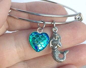 Mermaid Charm Bangle, Mermaid Bracelet, Gift for Mermaid Lover, Mermaid Jewelry, Always be a Mermaid, Mermaid Life