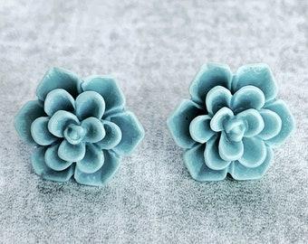 Light Teal Succulent Stud Earrings / Hypoallergenic Stainless Steel / Succulent Flower Earrings