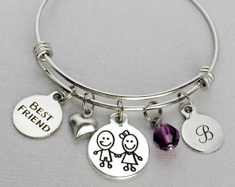 Best Friend Bracelet Gift For Birthday Personalized Charm Bangle