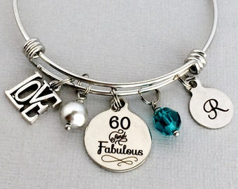 60 And Fabulous 60th Birthday Bracelet Gift For Women Friend Her