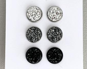 Bridesmaid Gift Metallic Mix Gift Set Druzy Earrings Faux Druzy Gift Set Druzy Stud Earrings Minimalist Druzy Earring Set