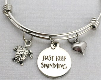 Sea Turtle Bracelet, Turtle Charm Bangle, Just Keep Swimming, Turtle Charm Bracelet, Turtle Lover Gift, Sea Turtle Jewelry