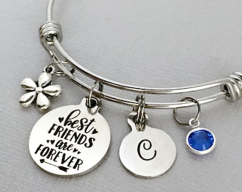 Best Friends Are Forever Friend Bracelet Gift For Friendship Jewelry Birthday Charm Bangle