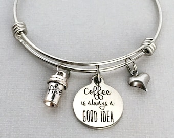 coffee bracelet coffee is always a good idea coffee charm bangle coffee lover gift coffee jewelry gift for friend