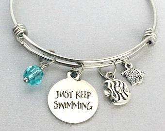 Just Keep Swimming, Fish Charm Bracelet, Inspirational Gift, Inspirational Charm Bangle, Gift for Friend, Encouragement Gift