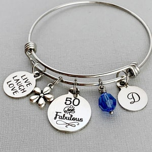 50th Birthday Gift For Woman 50 and Fabulous Bracelet Fiftieth birthday Motorcycle Biker Bracelet Friend Bracelet Milestone Birthday