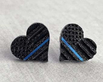 Thin Blue Line Earrings  Police Earrings  Faux Leather Earrings  Black and Blue Earrings  Pinched Faux Leather Earrings  LEO Wife