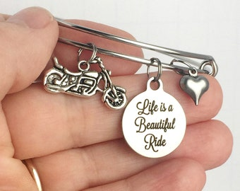 Motorcycle Bracelet, Life is a Beautiful Ride, Motorcycle Charm Bangle, Motorcycle Lover Gift, Motorcycle Jewelry