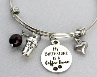 coffee lover gift coffee charm bangle my birthstone is a coffee bean coffee drinker gift coffee obsessed coffee bracelet