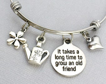 Friend Birthday Gift It Takes A Long Time To Grow An Old Bracelet Longtime Charm Bangle