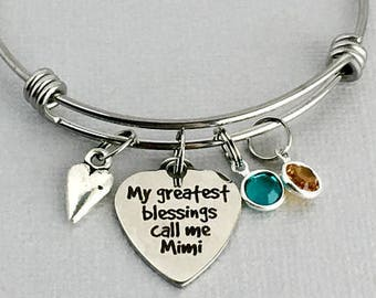 MIMI Bracelet, My Greatest Blessings Call Me Mimi, Grandchildren's Birthstones, Gift for Mimi, Grandmother Jewelry, Mother's Day