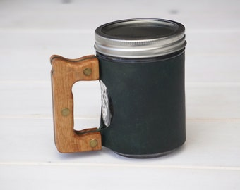 The Woods Mug Sleeve in Winter Green & Hickory Hardwood