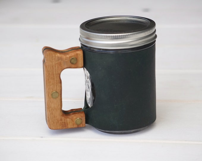 Featured listing image: The Woods Mug Sleeve in Winter Green & Hickory Hardwood