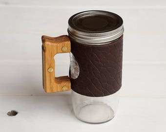 The Woods Mug with Ol'Red Folklore Bison Leather & Hickory Wood Handle