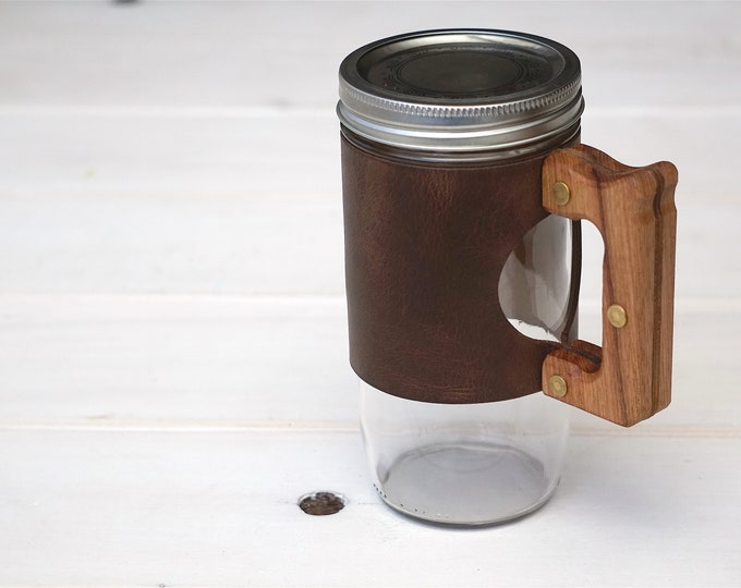 Featured listing image: The Woods Mug Sleeve in Summer Tan & Hickory Hardwood
